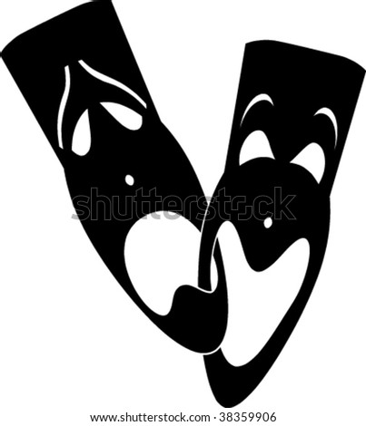 Traditional theatrical masks - stock vector