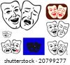 Traditional theatrical masks with few modifications for signs, cartoons, labels, icons etc. - stock vector