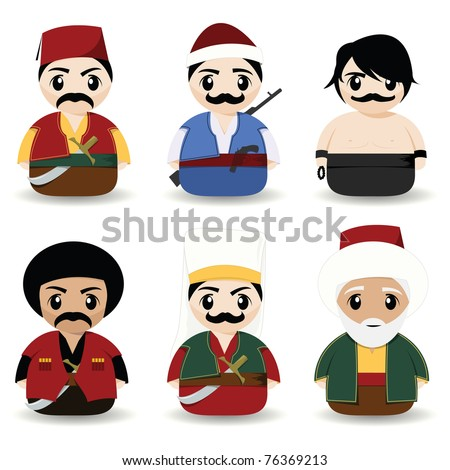 traditional turkish men - stock vector