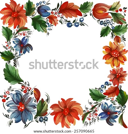 Traditional Ukrainian vector pattern frame with place for text in Petrykivka style. Hand drawn Petryakovka pattern. Gouache painting. - stock vector