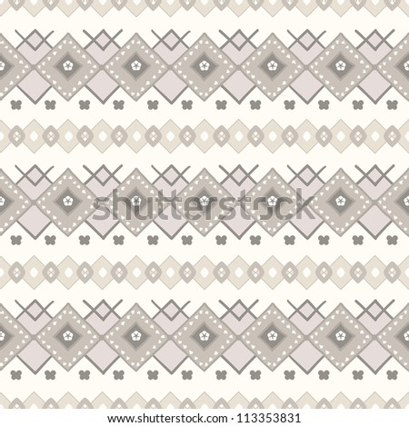 Traditional vector pattern with brown and beige design elements in nordic style - stock vector