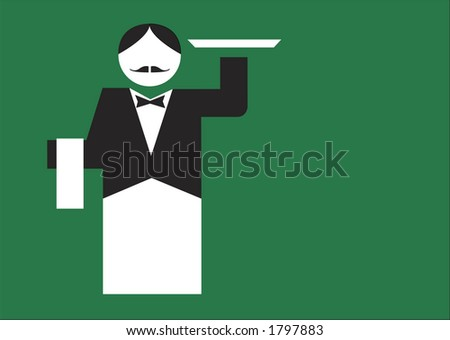Traditional waiter holding a tray on a green background. Vector illustration. - stock vector