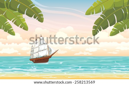 Traditional wooden sailboat and blue sea on a cloudy sky. Vector summer voyage. - stock vector
