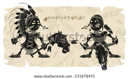 Traditions of Native Americans life, vector