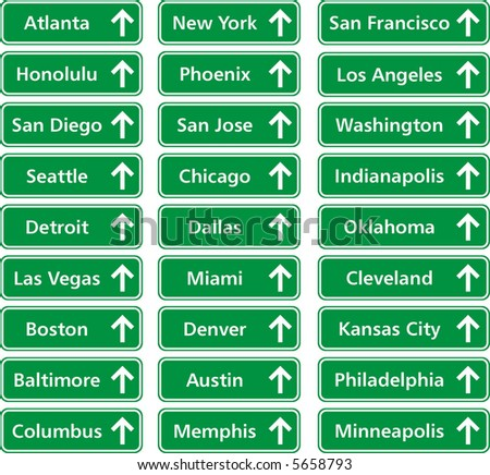 traffic boards of cities in usa