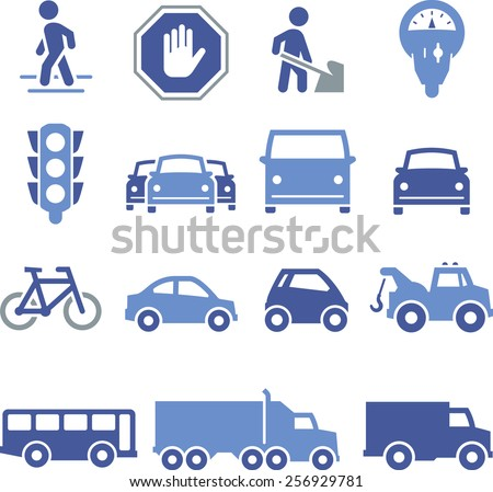 Traffic, cars and trucks.  - stock vector