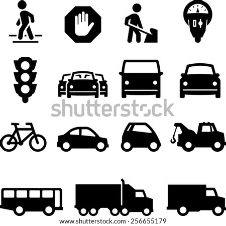 Traffic, cars and trucks. Vector icons for digital and print projects. - stock vector