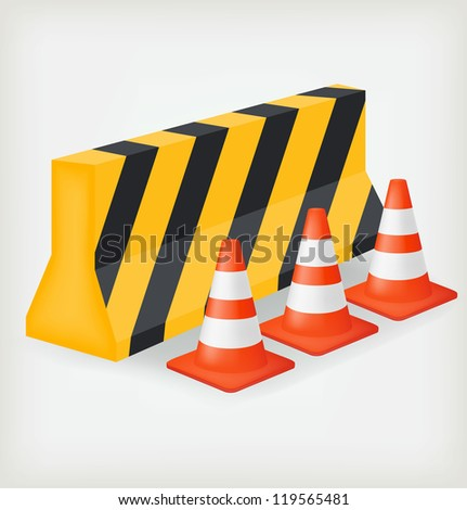 Traffic cone and block road. Vector - stock vector