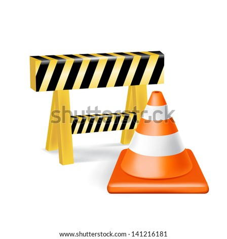 traffic cone and construction sign isolated on white - stock vector