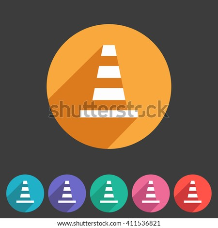 Traffic cone icon flat web sign symbol logo label - stock vector