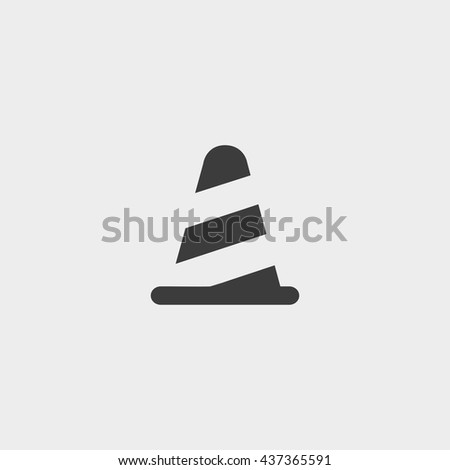 traffic cone icon in a flat design in black color. Vector illustration eps10 - stock vector