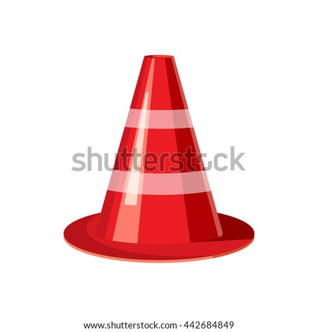 Traffic Cone Cartoon Traffic cone icon in cartoon style on a white background - stock ...