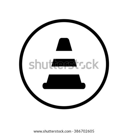 Traffic cone icon in circle . Vector illustration - stock vector