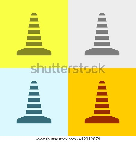 Traffic Cone Icon on Four Different Backgrounds. Eps-10.