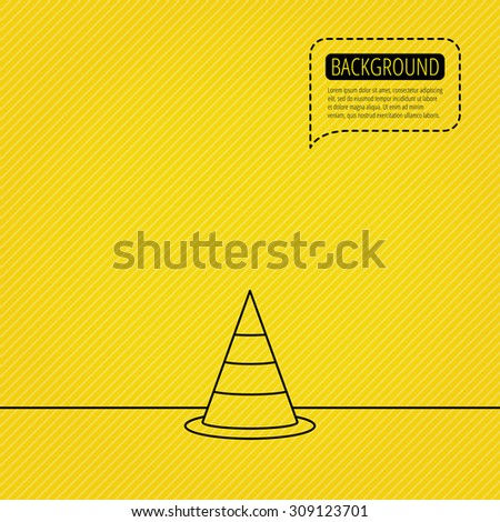 Traffic cone icon. Road warning sign. Speech bubble of dotted line. Orange background. Vector