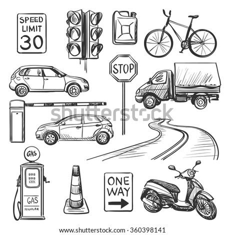 Traffic hand drawn icons set - stock vector