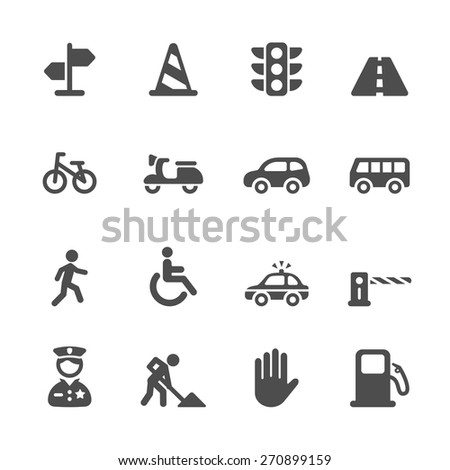traffic icon set, vector eps10. - stock vector