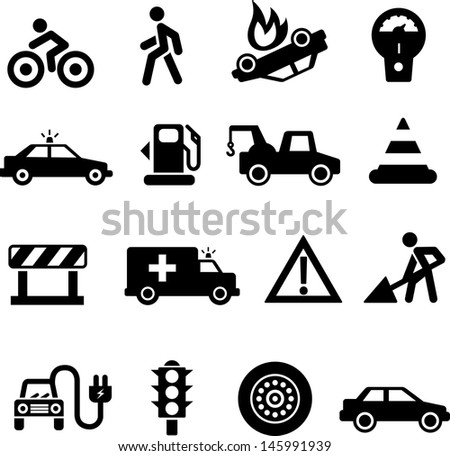 Traffic icons black on white background - stock vector