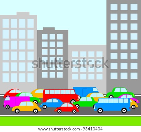 Traffic in city - stock vector