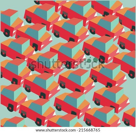 Traffic jam is a common. Flat vector illustration - stock vector