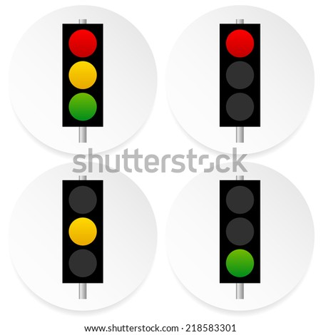 Traffic lamps, signals, semaphores on circles - stock vector
