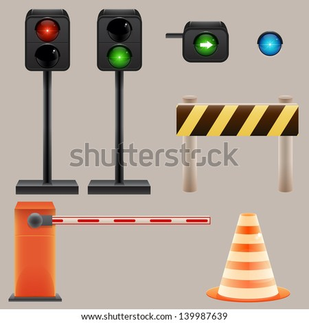 Traffic light and road signs set
