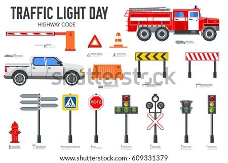 Light Equipment Transport : Traffic light day vector brochure cards 库存矢量图