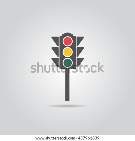 Traffic Light, Flat Style  Vector Illustration
