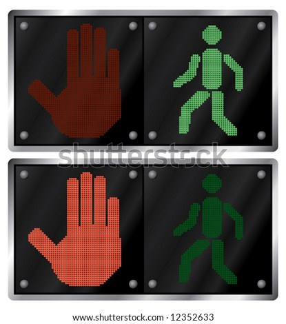Traffic light for people. Variants. Vector illustration. Isolated on white background. - stock vector