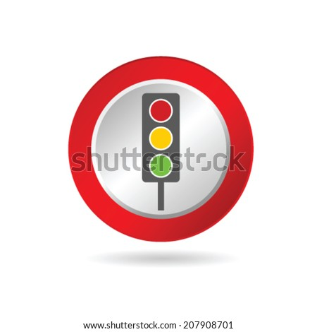 traffic light icon in red circle illustration