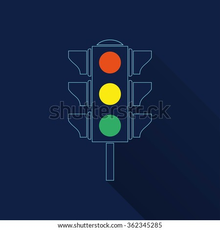 Traffic light  icon with long shadow, flat design. Vector illustration.