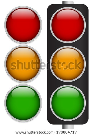 Traffic light, lamp isolated. - stock vector