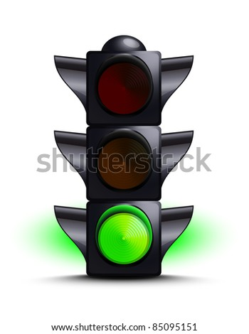 Traffic light on green - stock vector