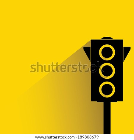 traffic light on yellow background, flat and shadow style - stock vector