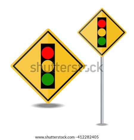traffic light over yellow sign - stock vector