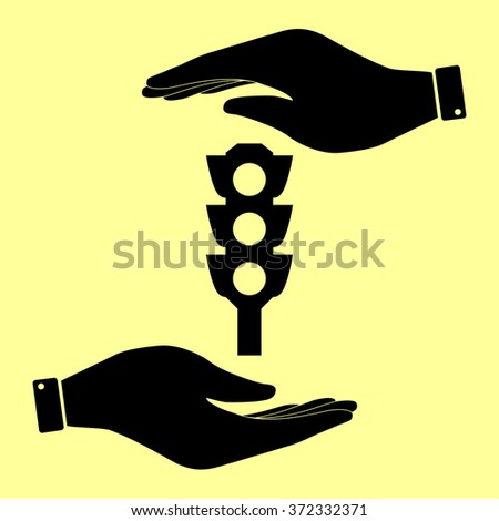 Traffic light sign. Save or protect symbol by hands. - stock vector