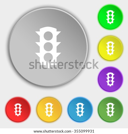 Traffic light signal icon sign. Symbol on eight flat buttons. Vector illustration - stock vector