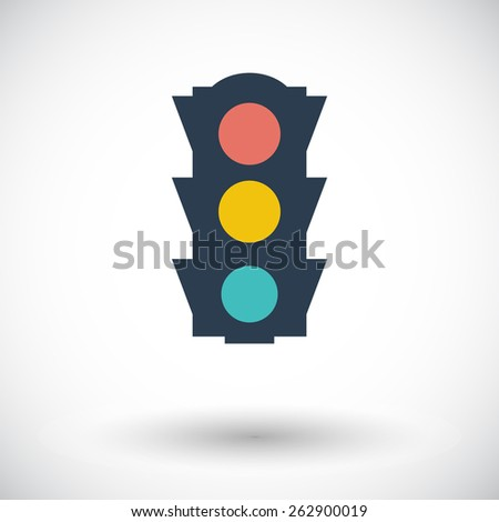 Traffic light. Single flat icon on white background. Vector illustration. - stock vector