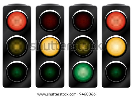 Traffic light. Variants. Vector illustration. Isolated on white background. See also ID: 9457978, 10381048, 10381042, 12352633, 12369619 - stock vector