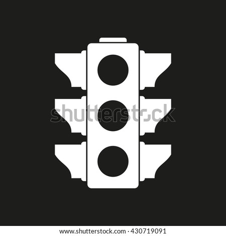 Traffic light vector icon. White illustration isolated on black background for graphic and web design.