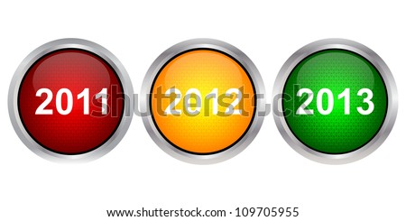 Traffic light with years - stock vector