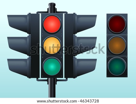 Traffic lights, all elements are separate objects are grouped easy to edit.