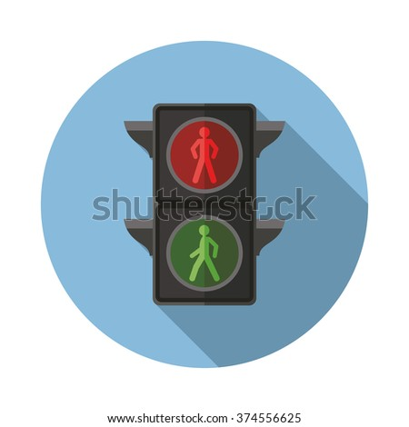 Traffic lights flat icon with long shadow. Vector illustration - stock vector