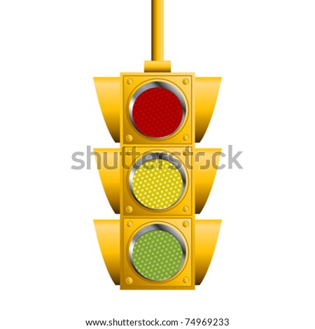 Traffic lights isolated over white square background - stock vector