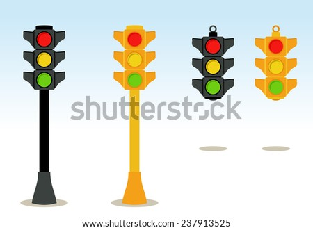 Traffic lights set in floor and hanging - stock vector