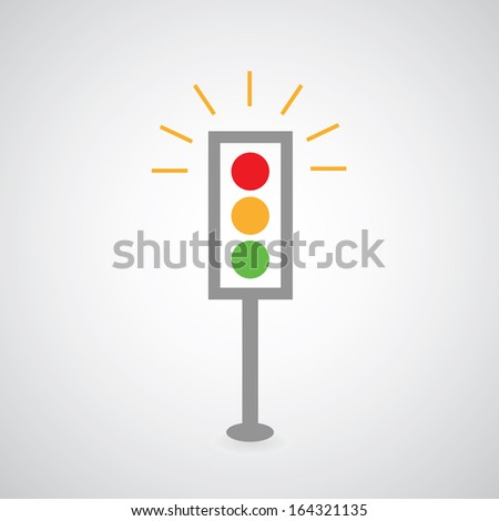 Traffic lights symbol on gray background  - stock vector