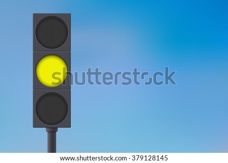 Traffic lights with yellow light on. Vector illustration on sky background