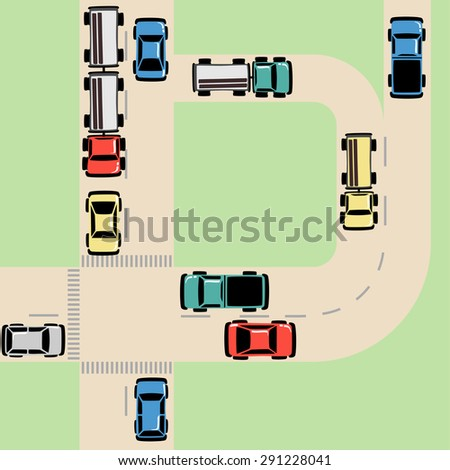 Traffic Map with Cars and Trucks on Road at Intersection, grouped and layered  - stock vector