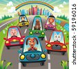 Traffic on the road. Funny cartoon and vector illustration, isolated objects. - stock photo