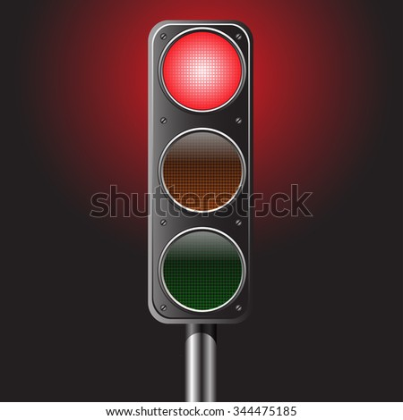 Traffic red light vector illustration for traffic sign and design background.